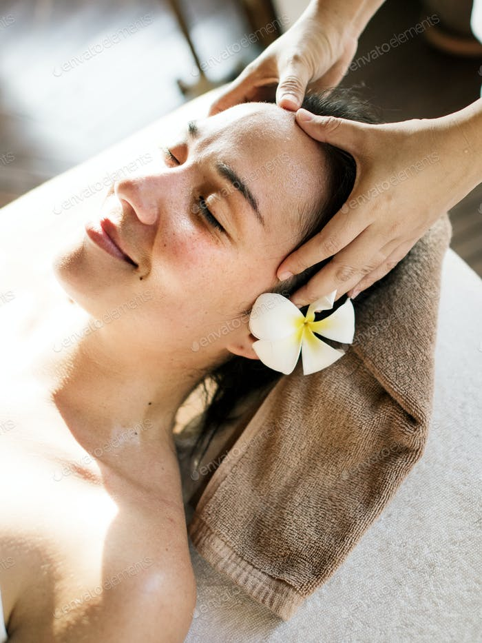 Woman relaxing from a spa treatment