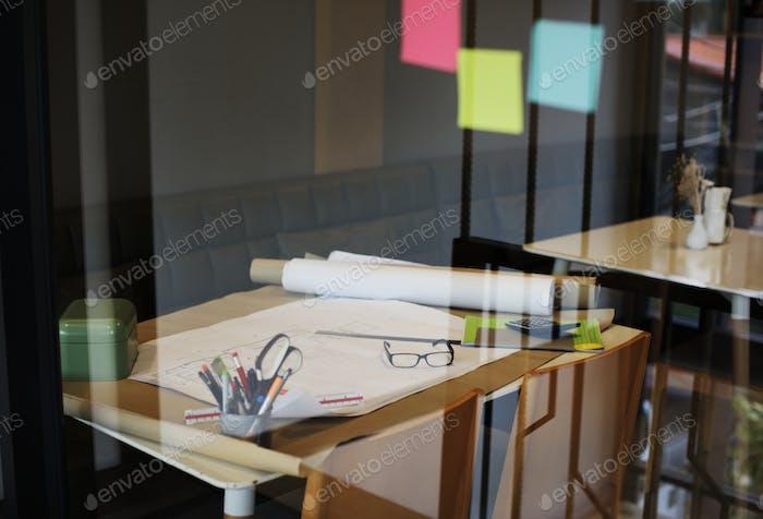 Working space of interior design