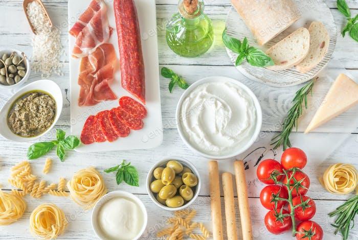 Assortment of Italian foods