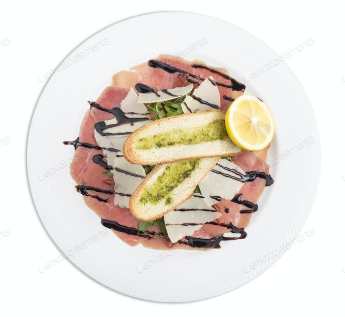 Delicious veal carpaccio.