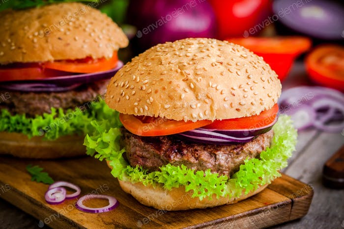 homemade burgers with fresh organic vegetables