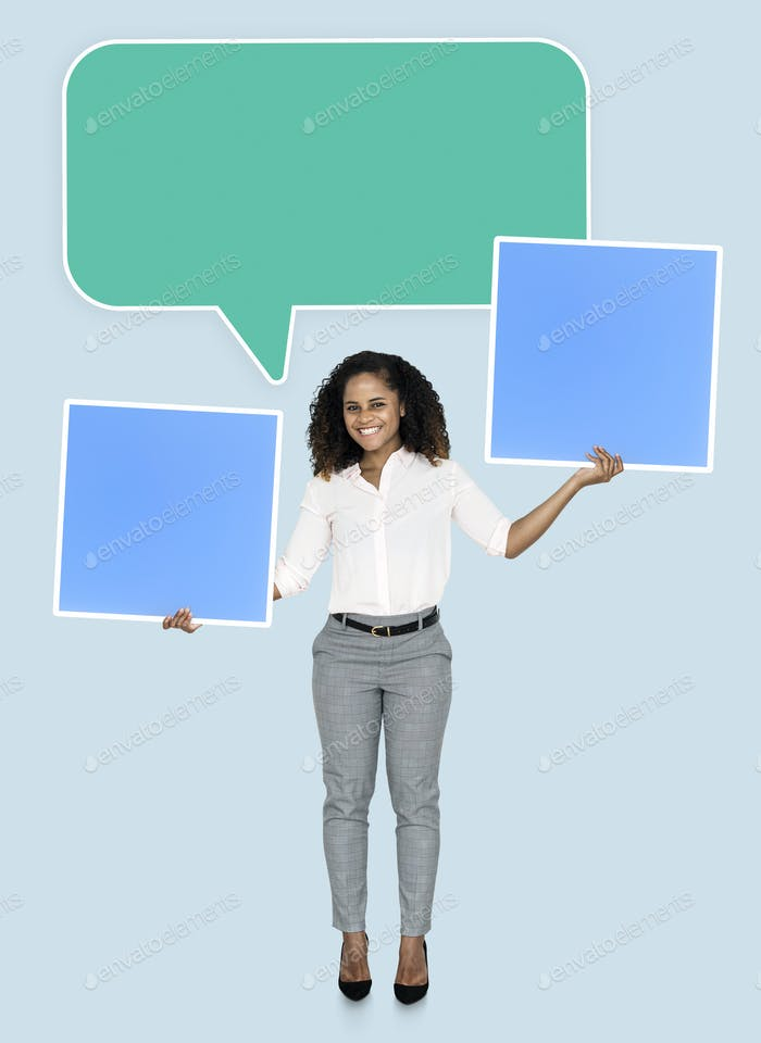 Woman with speech bubble and squares