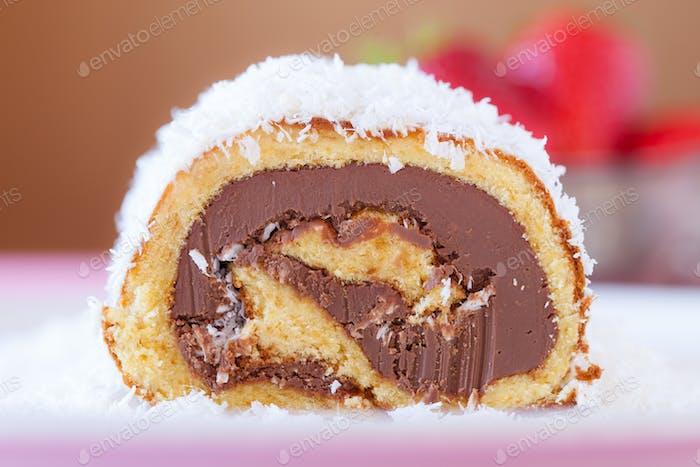 Chocolate Coconut Cake Roll Closeup