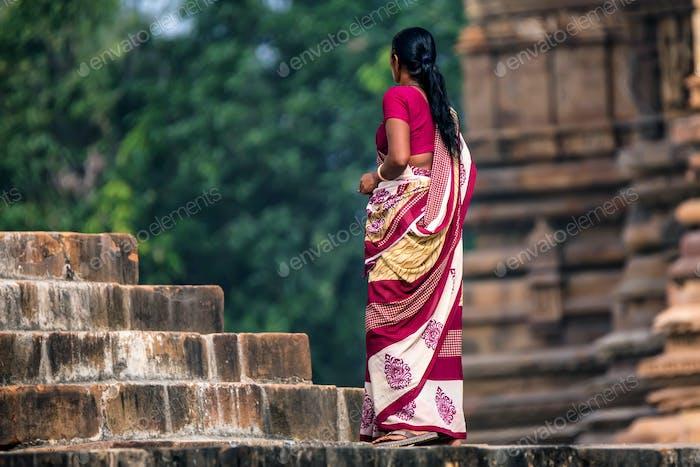 Indian woman in sari back view