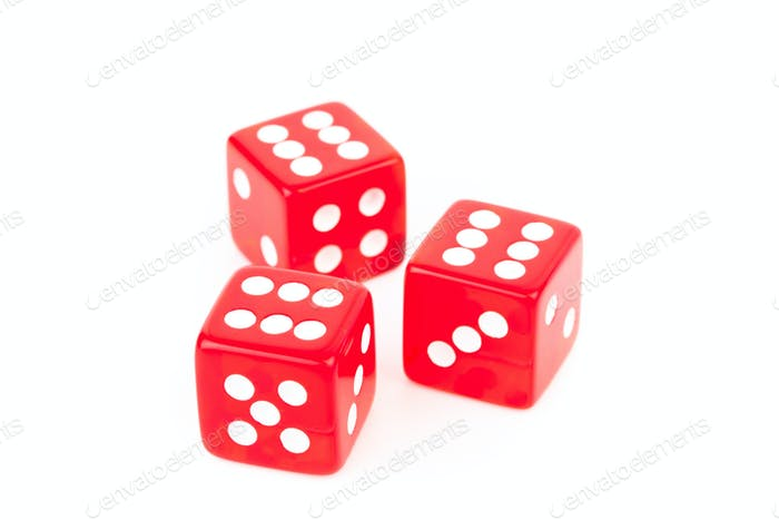 Three red dices against a white background