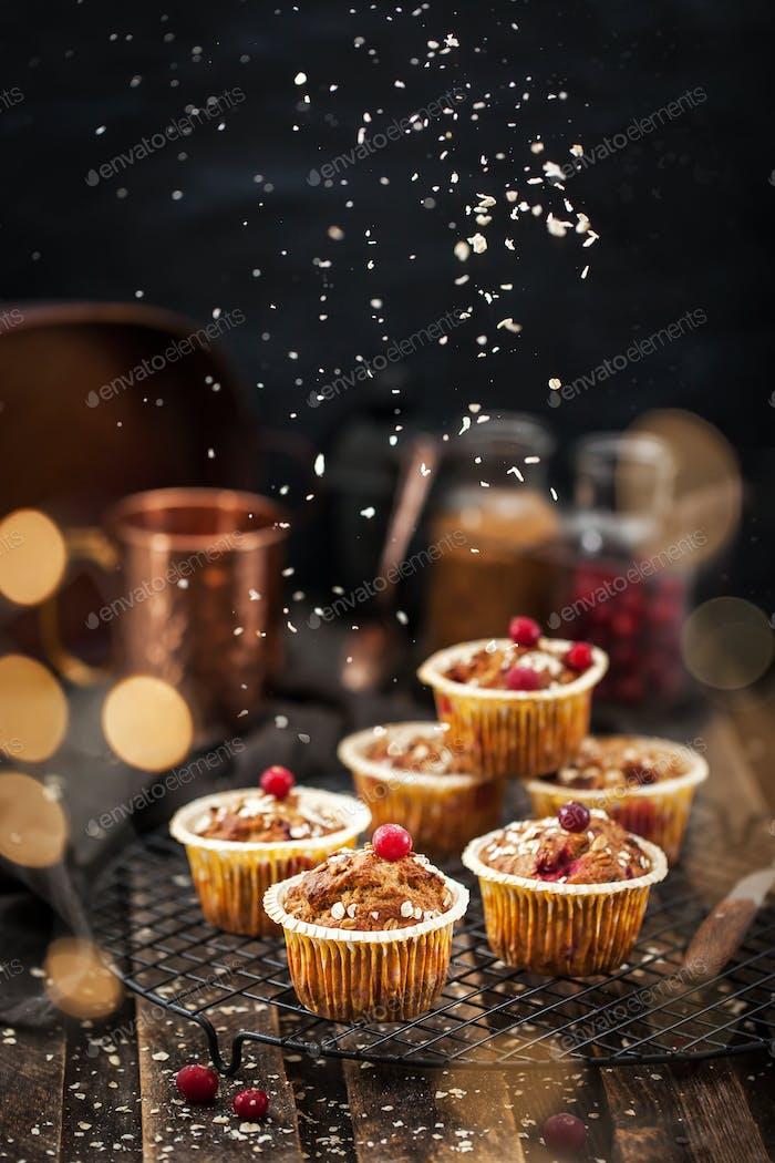 Homemade healthy oatmeal banana cranberry muffins