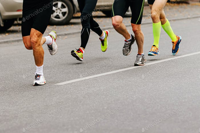 legs group male runners running