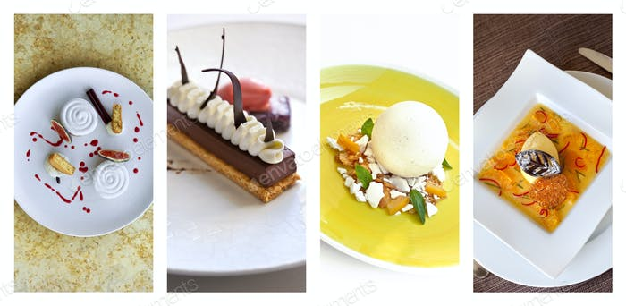 Collage of French desserts