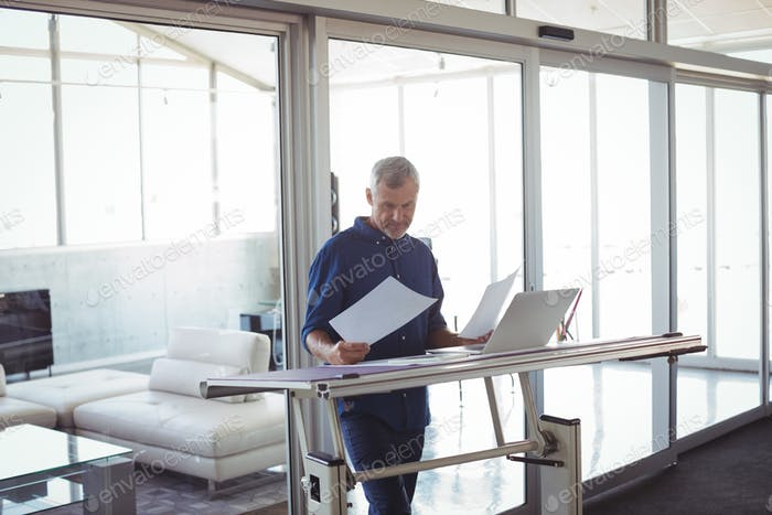 Interior designer analyzing diagrams on papers in office