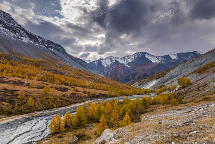 Scenic mountain landscape in the autumn. Altai Mountains.