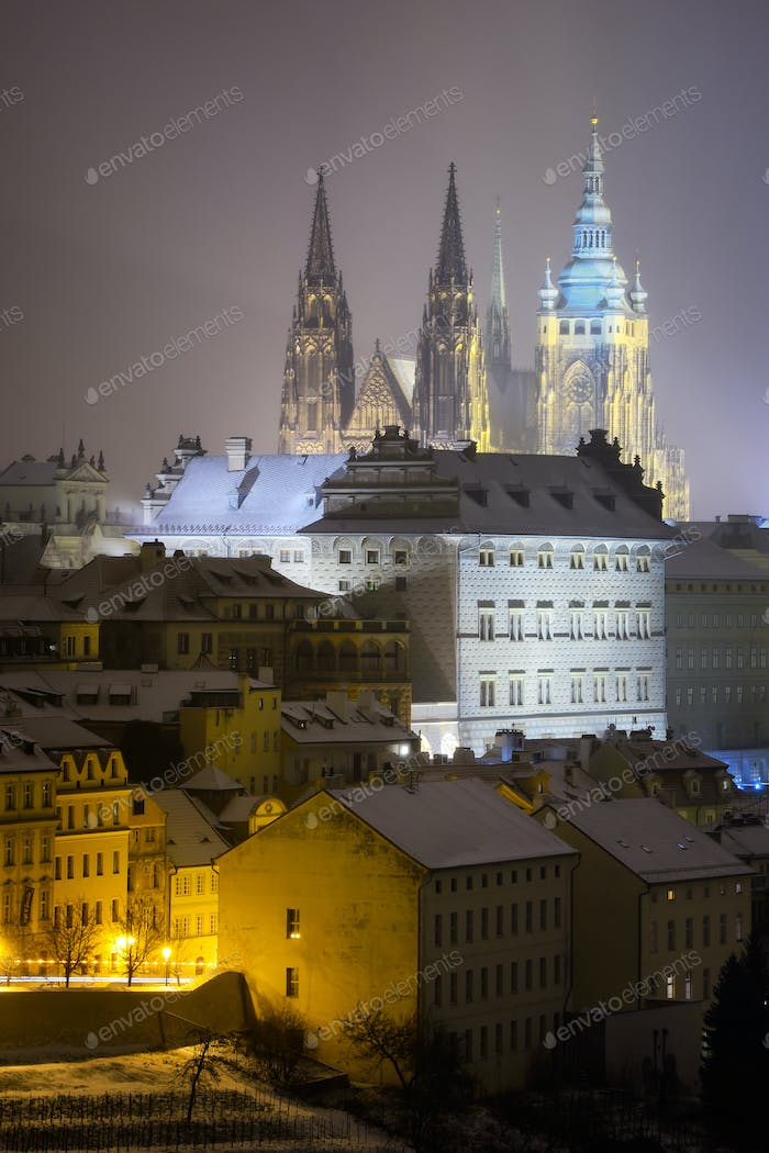 Saint Vitus Cathedral. Snowy atmosphere during winter night. Unesco, Prague, Czech republic