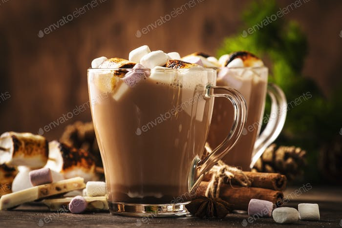 Hot cocoa or chocolate drink with marshmallow in glass mug and winter decoration