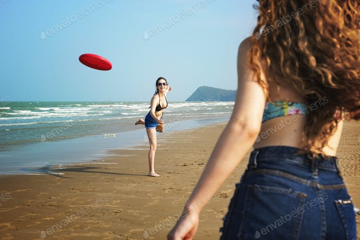 Girl Woman Women Coast Frisbee Beach Relax Concept