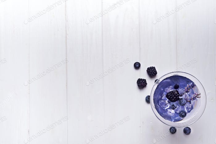 Lavender martini with berries