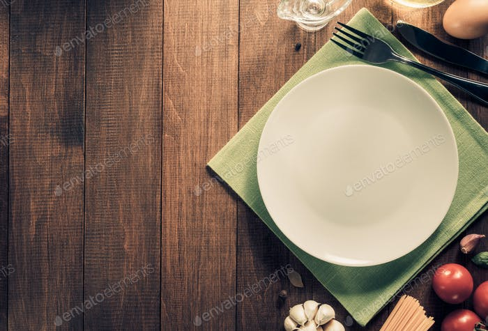 plate and healthy on wooden background