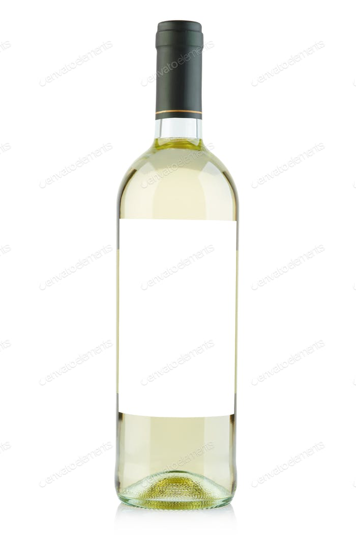 White wine bottle with blank label isolated on white, clipping p