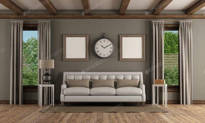 Classic style interior with elegant sofa