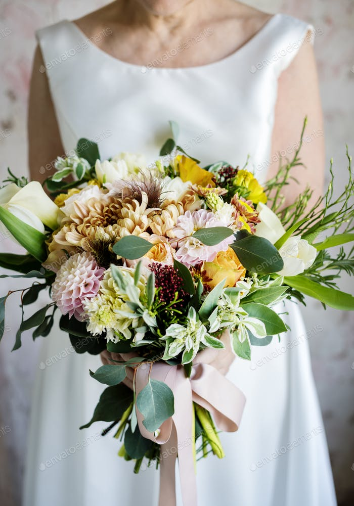 Bride Holding Flower Bouquet Wedding Engagement Ceremony photo by ...