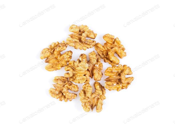 Draufsicht mit einer Handvoll Walnuss, circassian Nüsse isoliert auf weißem Hintergrund