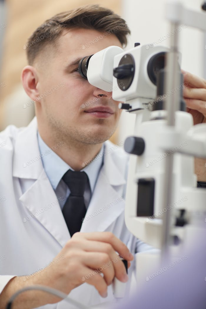 Ophthalmologist Using Vision Test Equpment