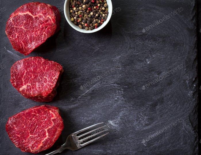 Raw filet mignon steaks