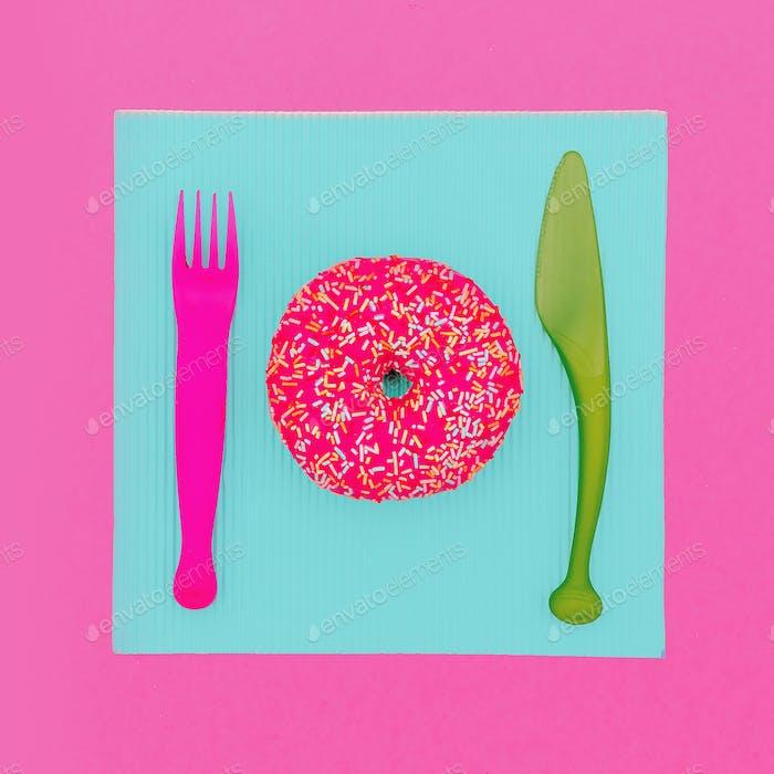 Donut Fast food. Cute fashion art Creative design