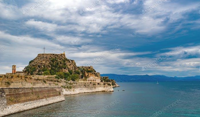 Rocky beach on Corfu island, Greece