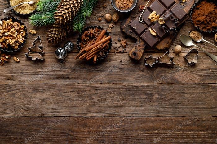 Christmas, Xmas, New Year or Noel culianry food background