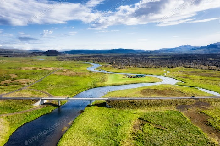 Bridge and river. Landscape from the air in Iceland.
