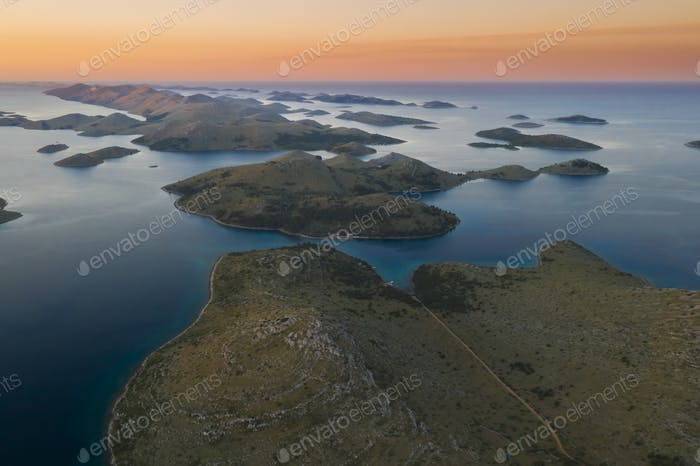 Aerial view of Kornati island archipelago at sunrise. Kornati National Park, Croatia