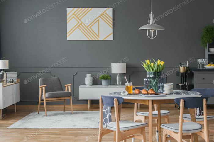 Gray living and dining area