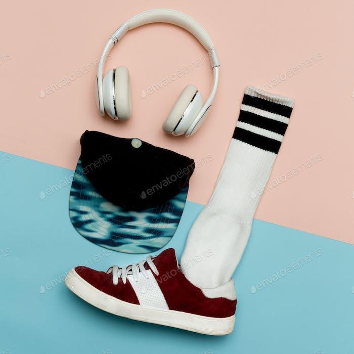 Flat lay fashion set: Fashion skateboard shoes, fashion stocking