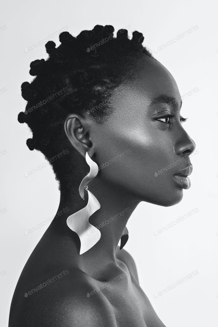 Beautiful black girl with big earrings