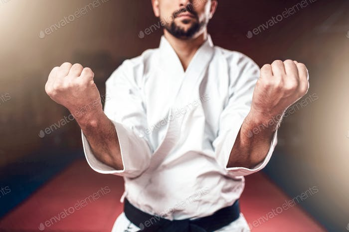 Martial arts, man in white kimono with black belt