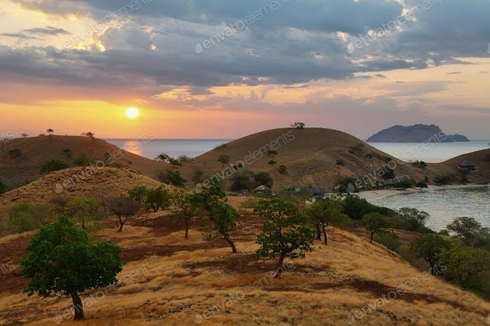 Sunset panorama on tropical Seraya Island