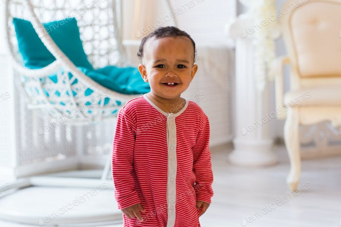 Happy Mixed Race Smiling Toddler Boy