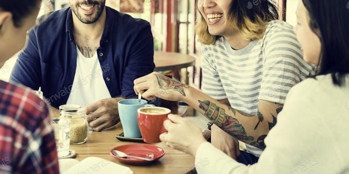 Gruppe Von Menschen Trinken Kaffee Konzept