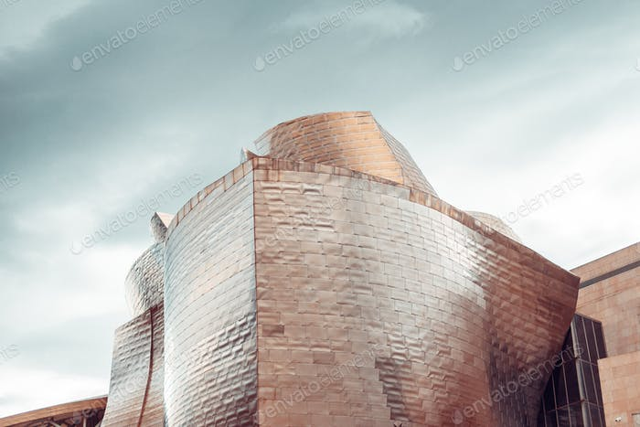 Detail of the Guggenheim museum building in Bilbao, Spain
