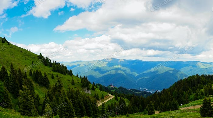 Scenic View in Mountains