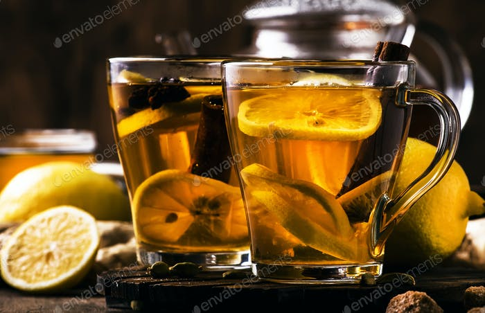 Hot healing tea with ginger, honey, lemon