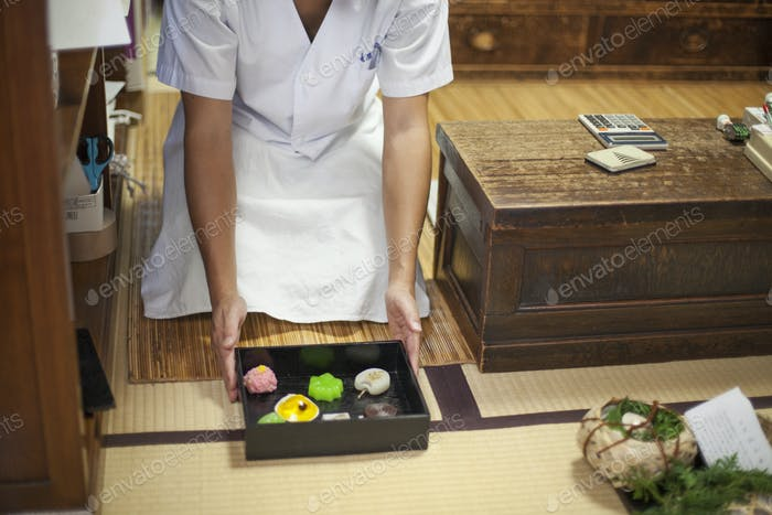Presentation box of wagashi sweets