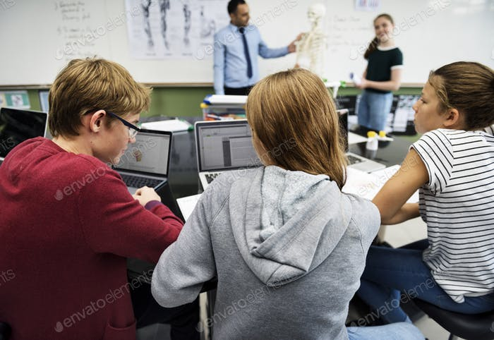 Students e-learning with laptop