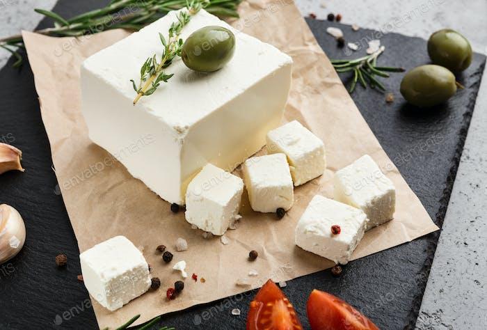 Homemade greek cheese concept