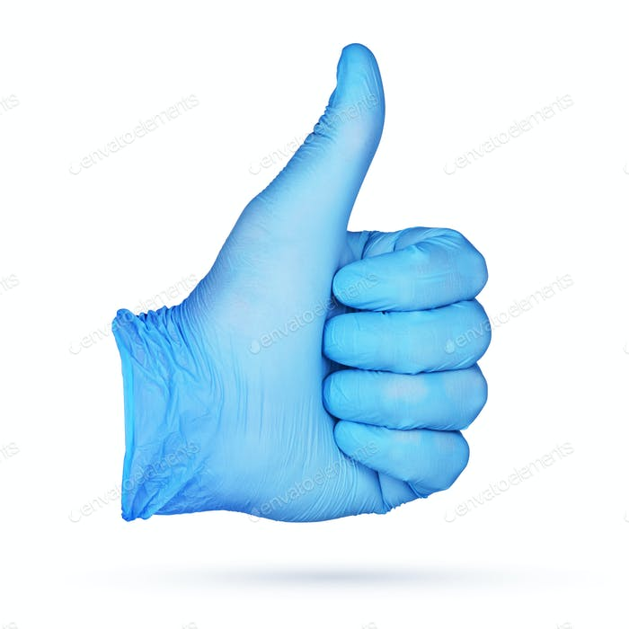 Thumbs-up sign. Hand in blue nitrile glove isolated.