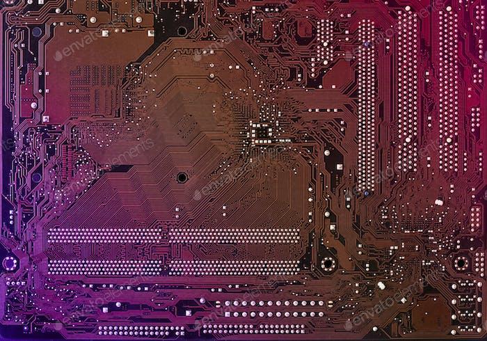 Computer-Motherboard-Hintergrund mit Unschärfe Neon Multicolor Glow, PC-Hintergrund, Nahaufnahme