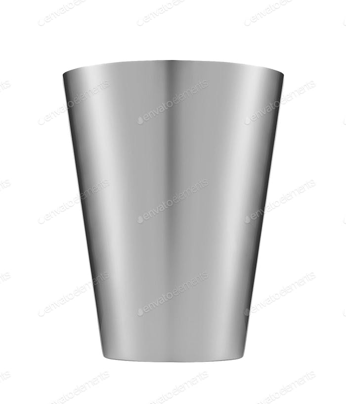 Metallic bucket. Isolated on white background