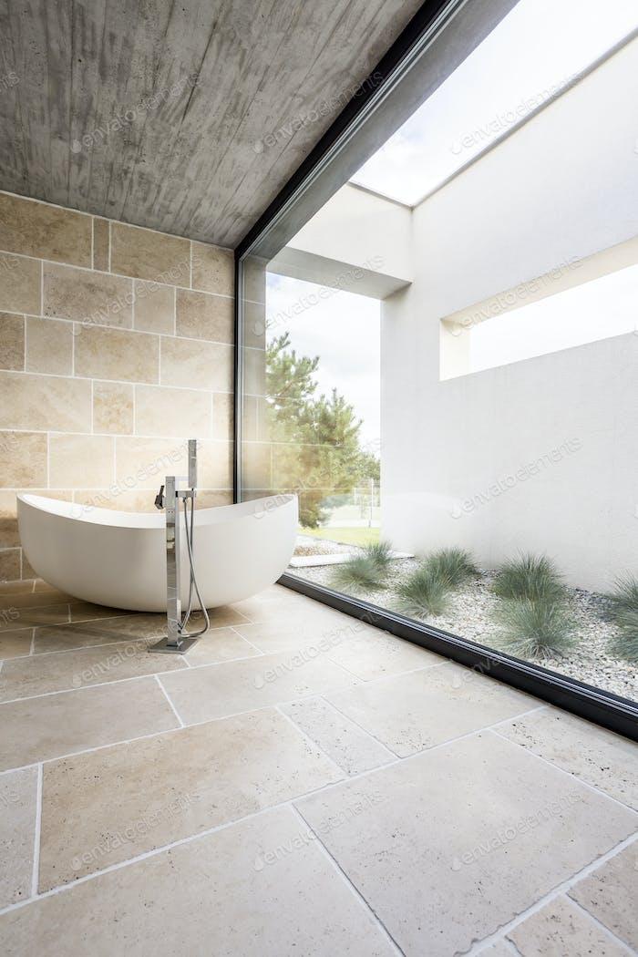 Minimalistic bathroom with window