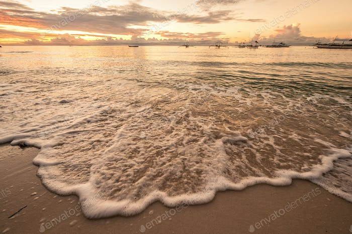 Tropical beach sunset at Philippines