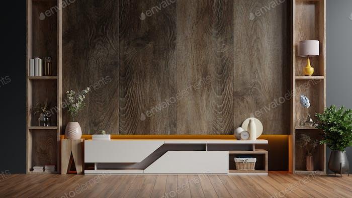 Cabinet TV in modern living room.