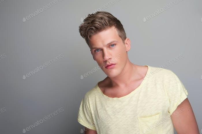 Handsome Young Man Close Up Portrait